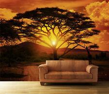 Fototapete Sonnenuntergang Afrika KT1 Größe: 400x280 cm Tapete Tiere Sonne Baum