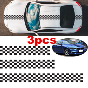 3pcs Long Stripe Sticker PVC Graphic Body Decal For Auto Car Hood Roof Trunk