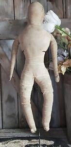 "Antique Large 20 1/2"" Folk Art Hand Made Cloth Rag Doll  AAFA"