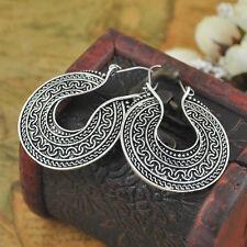 Hoop Earrings Ethnic Tribal Aztec Hippy Boho Dangle Indian Silver Tibetan Round