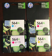 4 - NEW AND SEALED HP 564XL PRINT CARTRIDGES, CYAN, YELLOW, AND 2 MAGENTA. EXP.