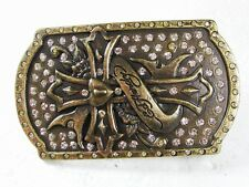 Goldtone Cross Rhinestones Belt Buckle By ED HARDY 33116