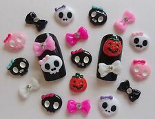 "20pc x ""Halloween Pumpkin,Ghosts Rhinestone Bows"" 3D Nail Art Kawaii Resin Craft"