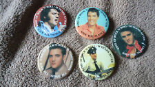 ELVIS PRESLEY - 5 GREAT AND MINT PHOTO BUTTON PIN BADGES