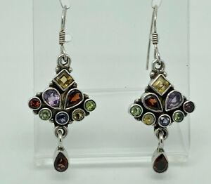 Gorgeous Vintage Sterling Silver Multi Gemstone Cluster Drop Earrings