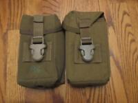 (2) US Military Khaki Mag Pouches! Mint and Ready to Serve! Open Fire!!