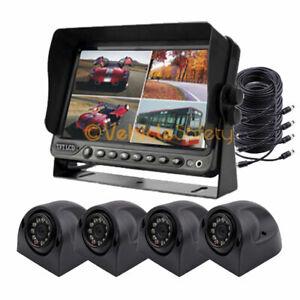 "7"" Quad Monitor DVR Video Recorder 4 x Side Cameras Truck Backup Camera System"
