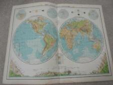 MAP c1900 WORLD BATHY OROGRAPHICAL BARTHOLOMEW ATLAS COLOUR LITHOGRAPH