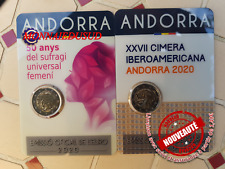 Lot 2x2Euro CC Coincard BU Andorre 2020 - Sommet Ibero + Suffrage Féminin