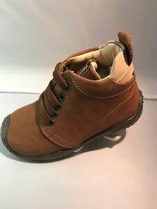 Boys. Primigi Simmon Lace Tie Up Brown Nubuck Shoes ,Baby  Size US 7