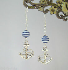 Nautical Anchor Charm Blue White Striped Bead Dangly Earrings