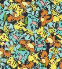 Pokemon Pikachu Friends 100% Cotton Fabric Fat Quarter FQ 1/4 Yard Fast Shipping