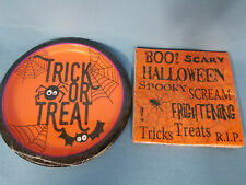 Napkins & Plates Halloween Party Spider Bats Black Orange Trick or Treat Boo