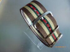 Relojes pulsera marrón de nylon beige rojo verde de 24 mm OTAN banda hebilla textil