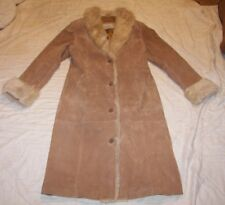 Women's Wilsons Maxima Leather Coat with Faux Fur Trim - Size M