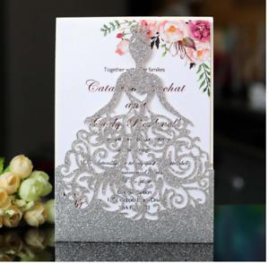 10PCS Laser Cut Invitations Sweet 16, Wedding, Quinceanera Glitter Party Card