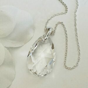 Made With Swarovski® Crystals 925 Silver Clear Crystal Necklace 22mm Pendant