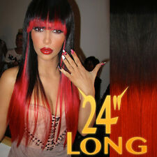 "THICK DIP DYE 24"" BALAYAGE OMBRE CLIP IN REMY HUMAN HAIR EXTENSIONS 1B BLACK RED"