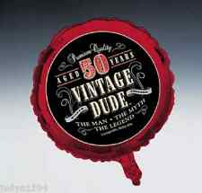 VINTAGE DUDE 50th BIRTHDAY PARTY FOIL BALLOON DECORATION PROP 45CM RED 50 YEARS