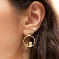 Fashion Women Golden Flowers Ear Stud Earrings Women Charm Jewelry Gifts JA