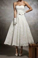 Stock New White/Ivory Lace Short Wedding Dress Bridal Gown Size 6 8 10 12 14 16