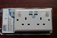 Selectric Square 2G Switched Double Socket 13A white with 2 USB charger sockets