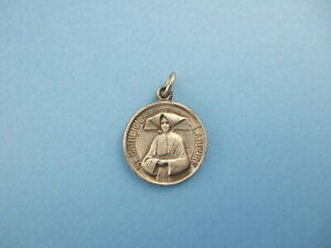 Vintage Catholic Medal St. Catherine Laboure & Virgin Mary 19mm silver finish
