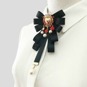 Luxury Women Satin Bow Tie Beads Floral Pin Baroque Brooch Necktie Party Vintage