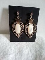 Vintage Dangling Faux Mother of Pearl & Pink Rhinestone Designed Earrings