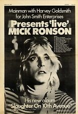 30/3/1974Pg25 Album Tour Advert 15x10 Mick Ronson slaughter On 10th Avenu