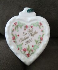 Belleek Porcelain China 2003 OUR FIRST CHRISTMAS TOGETHER Heart Ornament NWOB