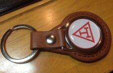 Triple Tau Cross Masonic Leather key Ring, Ideal Xmas Gift BLACK/TAN LEATHER