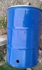 5 Belüftungslöcher unten Brenntonne Metallfass 200 Liter  robust Deckel Spannr.