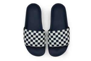 VANS Slide On Sandals (NEW) Waffle Sole CHECKERBOARD Checkers - NAVY Mens Slides
