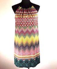 London Times Womens Shift Dress 10 Multi Color Geometric Sleeveless High Neck