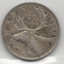 CANADA,  1949, 25 CENTS,  SILVER,  KM#44,  VERY FINE-EXTRA FINE
