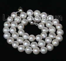 """luster natural 17"""" 10mm round white pearls necklace magnet clasp j10410"""