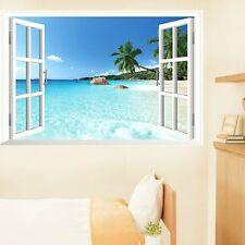 Beach 3D Window View Removable Wall Art Sticker Vinyl Decal Home Decor Mural