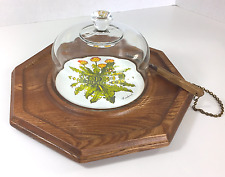 Japan GOODWOOD Dandelion Cheese/Cracker Wood Tray Dome Lid Knife Chain Vintage