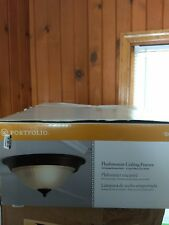 * Portfolio LC0463RB 13-in W Rustic brown Flush Mount Light 0088558