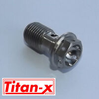 Titanium single Banjo Bolt  M10 x 1.00 thread pitch drilled head