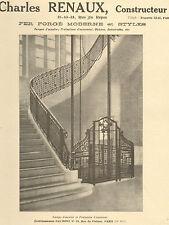 PARIS FERRONNERIE D' ART CHARLES RENAUX FER FORGE ART DECO PUBLICITE 1924
