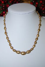 VINTAGE MONET STRAND NECKLACE DARK CHAMPAGNE COLOR FAUX GLASS PEARLS RHINESTONES