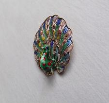 Quirky Vintage Filigree Silver Peacock Brooch with Enamel