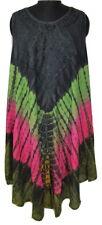 Womens Umbrella Dress~Beautiful Embroidered Bohemian Tie & Dye Kaftan Midi Dress