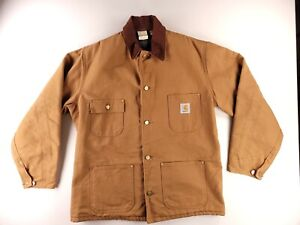 Vintage Carhartt  blanket lined Chore Jacket - size 42 MADE IN USA coat Brown
