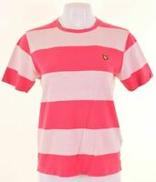 LYLE & SCOTT Womens T-Shirt Top Size 14 Medium Pink Striped Cotton  JZ03