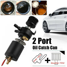Oil Catch Can Tank 2-Port Baffled Reservoir with Drain Valve Breather L-