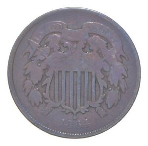 TWO CENT - 1864 US TWO 2 Cent Piece - First Coin with In God We Trust Motto *029
