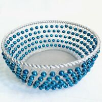 Blue Beaded Decorative Wire Metal Fruit Display Bowl - Art Deco MCM